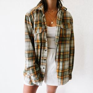 Vintage Oversized Button Up Flannel Orange